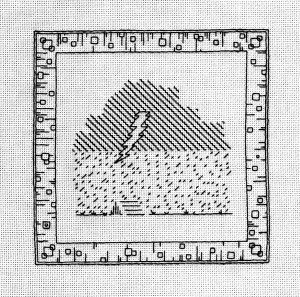 """Trip to New Mexico"", Blackwork embroidery--6"" x 6"""